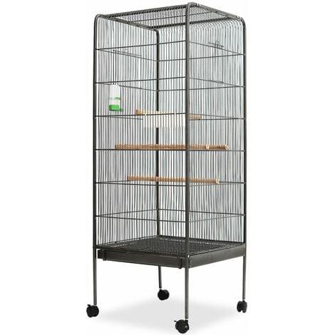 vidaXL Bird Cage Black 54x54x146 cm Steel - Black