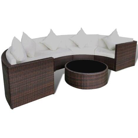 vidaXL 6 Piece Garden Lounge Set with Cushions Poly Rattan Brown - Brown
