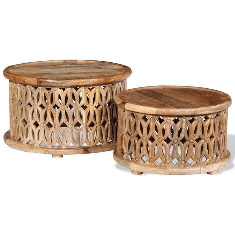 vidaXL Two Piece Coffee Table Set Solid Mango Wood - Brown