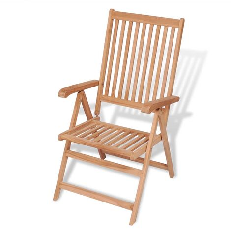 vidaXL Reclining Garden Chair Solid Teak Wood - Brown
