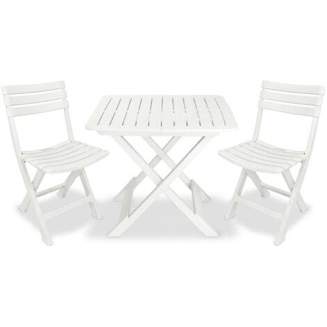 vidaXL 3 Piece Folding Bistro Set Plastic White - White