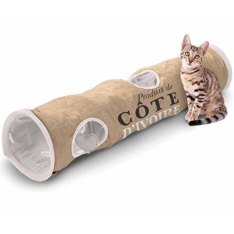 D&D Cat Tunnel Cote d'Ivoire 25x120 cm Brown and White 434/436448 - Multicolour
