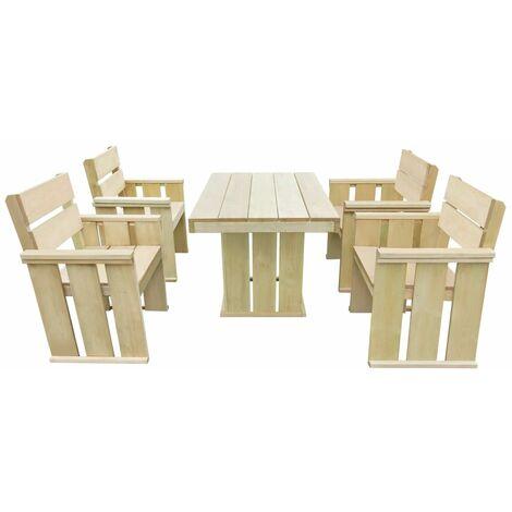 vidaXL 5 Piece Outdoor Dining Set Impregnated Pinewood - Brown