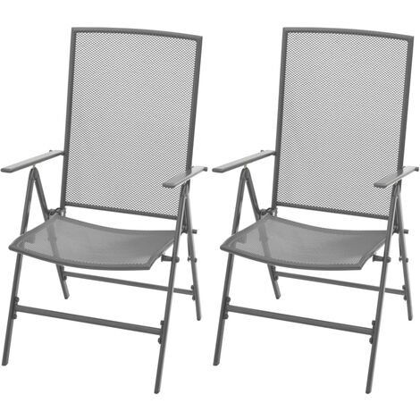 vidaXL Stackable Garden Chairs 2 pcs Steel Grey - Grey
