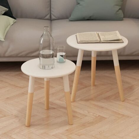 vidaXL Side Table Set 2 Pieces Solid Pinewood White - White