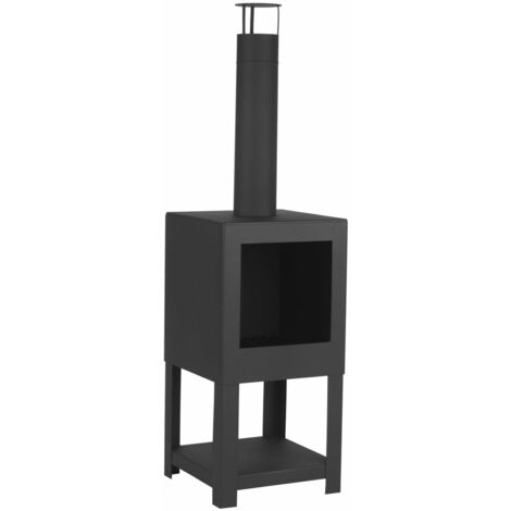 Esschert Design Outdoor Fireplace with Firewood Storage Black FF410 - Black