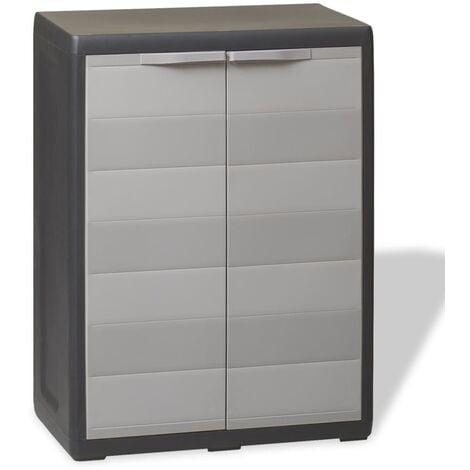 vidaXL Garden Storage Cabinet with 1 Shelf Black and Grey - Grey