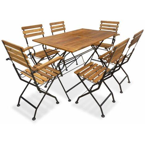 vidaXL 7 Piece Folding Outdoor Dining Set Solid Acacia Wood - Brown