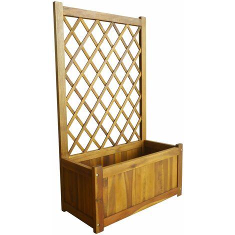 vidaXL Garden Raised Bed with Trellis Solid Acacia Wood - Brown