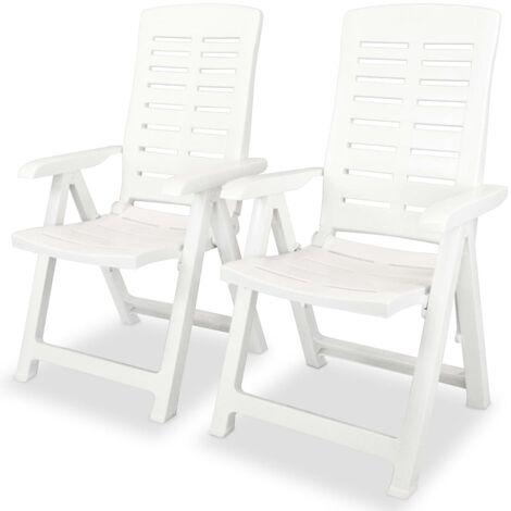vidaXL Reclining Garden Chairs Plastic White 2 pcs