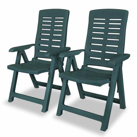 vidaXL Reclining Garden Chairs Plastic Green 2 pcs - Green
