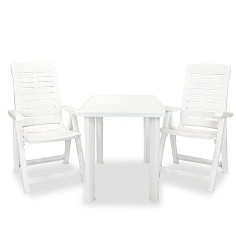 vidaXL 3 Piece Bistro Set Plastic White - White
