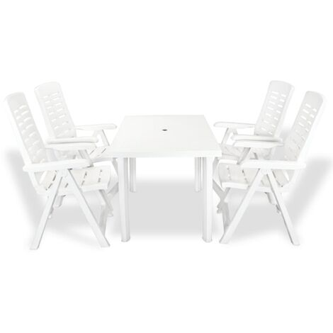 vidaXL 5 Piece Outdoor Dining Set Plastic White - White