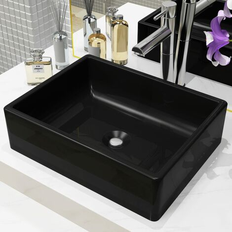 vidaXL Basin Ceramic Rectangular Black 41x30x12 cm - Black