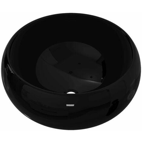 vidaXL Basin Ceramic Round Black 40x15 cm - Black