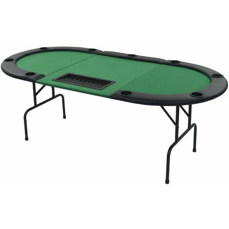 vidaXL 9-Player Folding Poker Table 3 Fold Oval Green - Green