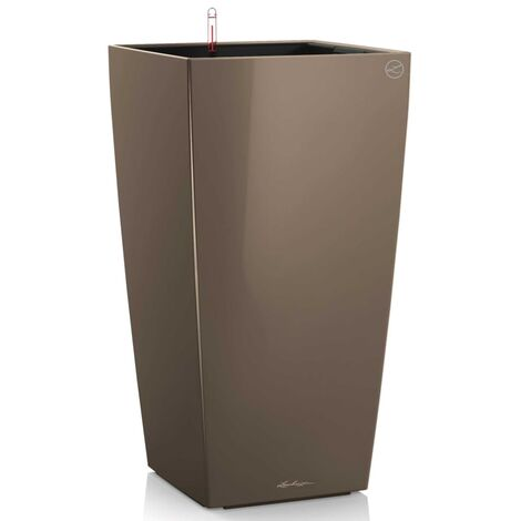LECHUZA Planter Cubico 40 ALL-IN-ONE High-Gloss Taupe 18215 - Brown