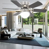 vidaXL Ornate Ceiling Fan with Light 82 cm Dark Brown - Brown