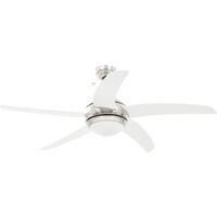 vidaXL Ornate Ceiling Fan with Light 128 cm White - White