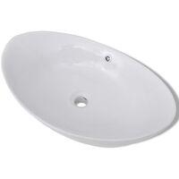 Luxury Ceramic Basin Oval with Overflow 59 x 38,5 cm - White