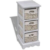 vidaXL Wooden Storage Rack 3 Weaving Baskets White - White