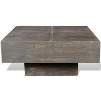 vidaXL Coffee Table Square Solid Mango Wood Dark Brown - Brown