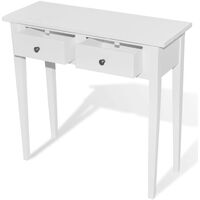vidaXL Dressing Console Table with Two Drawers White - White