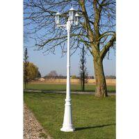 vidaXL Garden Light Post 3-arms 215 cm White Aluminium - White