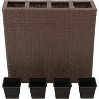 vidaXL Garden Raised Bed with 4 Pots Poly Rattan Brown - Brown