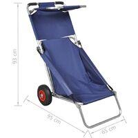 vidaXL Beach Trolley with Wheels Portable Foldable Blue - Blue