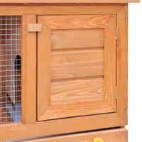 vidaXL Outdoor Rabbit Hutch Small Animal House Pet Cage 1 Door Wood - Brown