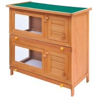 vidaXL Outdoor Rabbit Hutch Small Animal House Pet Cage 4 Doors Wood - Brown
