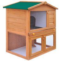 vidaXL Outdoor Rabbit Hutch Small Animal House Pet Cage 3 Doors Wood - Brown