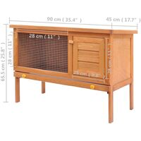 vidaXL Outdoor Rabbit Hutch Small Animal House Pet Cage 1 Layer Wood - Brown