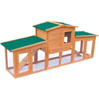 vidaXL Large Rabbit Hutch Small Animal House Pet Cage with Roofs Wood - Brown