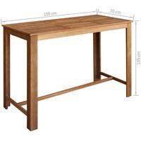 vidaXL Bar Table and Chair Set Solid Acacia Wood 7 Pieces - Brown
