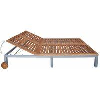 vidaXL Double Sun Lounger Solid Acacia Wood - Brown