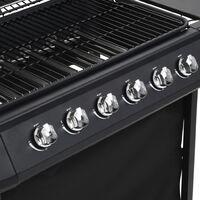 vidaXL Gas BBQ Grill with 6 Cooking Zones Steel Black - Black