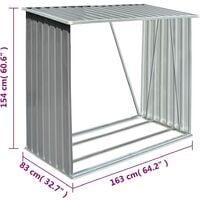 vidaXL Garden Log Storage Shed Galvanised Steel 163x83x154 cm Grey - Grey