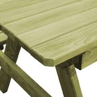 vidaXL Picnic Table with Benches 90x90x58 cm Impregnated Pinewood - Green