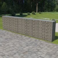vidaXL Gabion Wall with Covers Galvanised Steel 600x50x150 cm - Silver