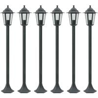 vidaXL Garden Post Lights 6 pcs E27 110 cm Aluminium Dark Green - Green
