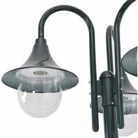 vidaXL Garden Post Light E27 220 cm Aluminium 3-Lantern Dark Green - Green