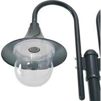 vidaXL Garden Post Light E27 220 cm Aluminium 2-Lantern Dark Green - Green