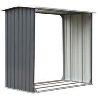 vidaXL Garden Log Storage Shed Galvanised Steel 172x91x154 cm Grey - Grey