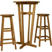 vidaXL 3 Piece Bar Set Solid Acacia Wood - Brown