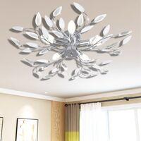 Ceiling Lamp Acrylic Crystal Leaf Arms 5 E14 Bulbs Transparent&White - White