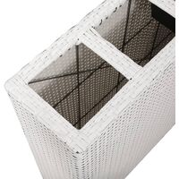 vidaXL Garden Raised Bed with 4 Pots Poly Rattan White - White