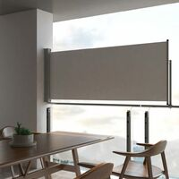 vidaXL Patio Retractable Side Awning 100 x 300 cm Grey - Grey