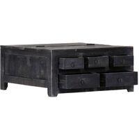vidaXL Coffee Table Black 65x65x30 cm Solid Mango Wood - Black